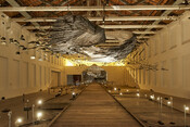 Installation view of Glenn Kaino: In the Light of a Shadow at MASS MoCA, 2021